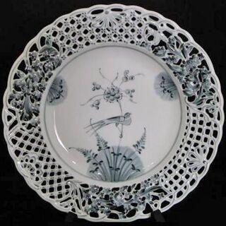 【WE】Herend ヘレンド エキゾチックバード 染付 透かし飾り皿
