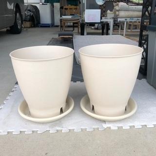 素焼風プラスチック植木鉢&受皿10号2セット