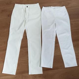レディースボーダーシャツと白いパンツセット