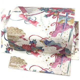 美品 袋帯 正絹 ホワイトシルバー 華模様 二重太鼓 作り帯 ...