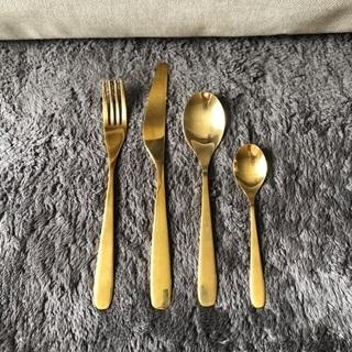 【IKEA】ティッラグド カトラリー24点セット, ゴールド