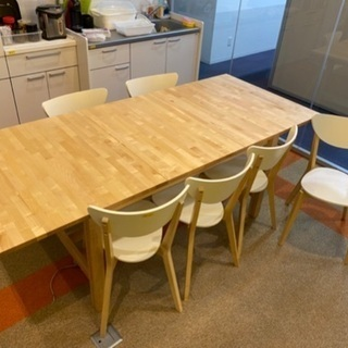 テーブルセット テーブル木目 椅子6脚 美品