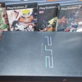 PS2本体ジャンク品 コード ソフト四点セット