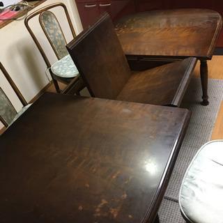伸縮可能ダイニングテーブル+椅子4脚 - 福知山市