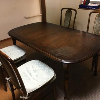 伸縮可能ダイニングテーブル+椅子4脚 - 家具