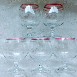 ワイングラス5個セット ピンク