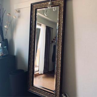 ヴィンテージ風 ミラー アンティーク風 ゴールド仕上げ 鏡