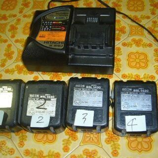 日立リチウムイオンバッテリー稼働品4個充電器付