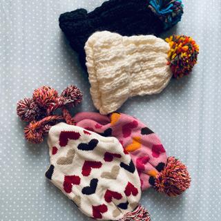 【新品】色違い2セットキッズ秋冬帽子(48-50cm)
