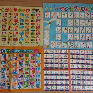 【お風呂用】カタカナの表、ひらがなの表、漢字(1年生)の表