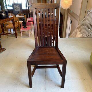 チェア ハイバックチェア 椅子 茶 アンティーク ヴィンテージ 中古品