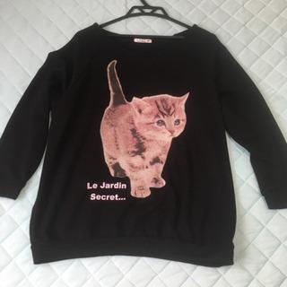 猫柄 厚手 長袖