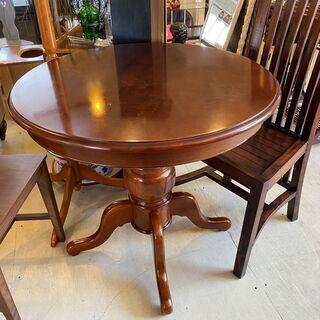 丸テーブル テーブル 作業台 アンティーク レトロ 茶 中古品