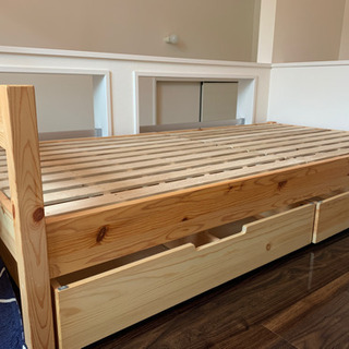 無印良品 パイン材ベッドシングル+ベッド下収納3点