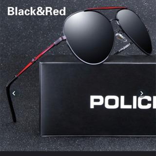 POLICE ブラックXレッド UVカット アウトドア 黒赤メン...