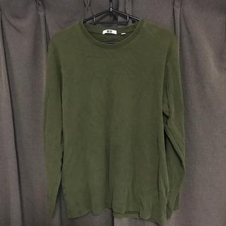 UNIQLO メンズ長袖シャツ深緑 Lサイズ