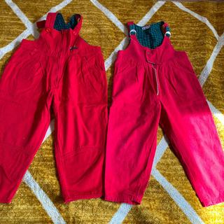 双子ちゃんに♪ 110cm  赤のオーバーオール