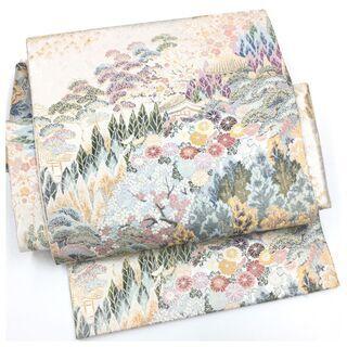 上質 美品 高級袋帯 二部式仕立て 二重太鼓 風景模様 作り...