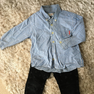100センチシャツ&黒コーデュロイパンツ