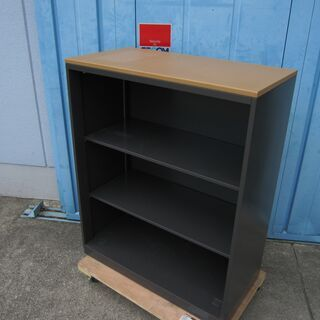 オープン書庫 ウチダ製 ブラック 木目天板付き