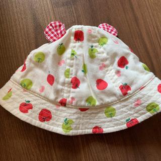 ベビー帽子 リンゴ柄 48センチ