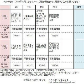 10/4(日)イベントを企画したい【Hydrangea】No.1...