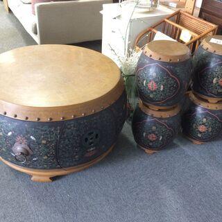 ●中国家具 太鼓 テーブル スツール 4脚 唐草