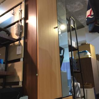 ロッカータンス 鏡 姿見 クローゼット 衣類収納 鏡付きロッカー...