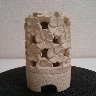 ●バリ島石材●ストーンオブジェランプ●①