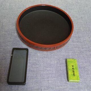 <未使用品>中国ミニ書道具 セット 丸硯セット(萬世 日本…