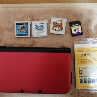 【ネット決済・配送可】3DSLL本体、ソフト3本セット
