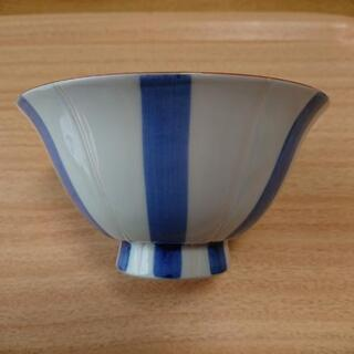 Francfranc(フランフラン) 波佐見焼 茶碗 棒縞 ブルー
