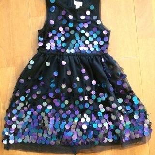 スパンコール付き子供用ドレス(ブラック)