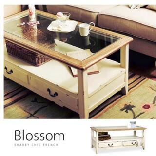 カフェ風 ヴィンテージ ガラスローテーブル