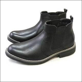 メンズ紳士靴サイドゴアカジュアルブーツ/ブラック/25.5cm