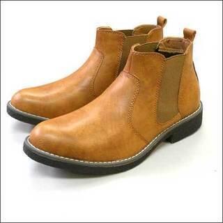 メンズ紳士靴サイドゴアカジュアルブーツ/キャメル/25.5cm