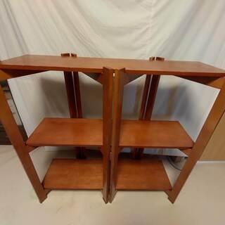 木製折りたたみ式飾り棚 3段