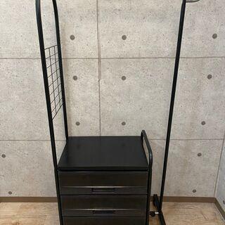 8*95 収納付きハンガーラック 3段 ブラック 衣類収納