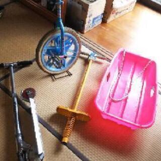 一輪車、キックボード、ホッピング、差し上げます。
