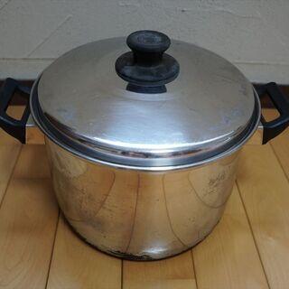 中古 ステンレス鍋 大きめ 鍋 蓋つき