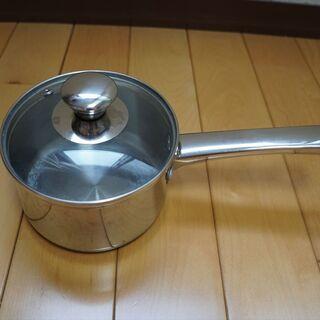 中古 鍋 小鍋 ステンレス鍋 蓋つき ガラス蓋