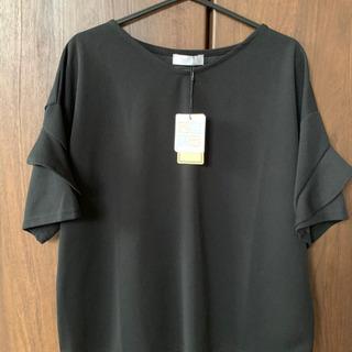 フリル袖Tシャツブラウス 黒