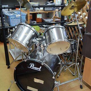 ドラムセット シルバー系 サイレント付き(一部難あり) Pear...