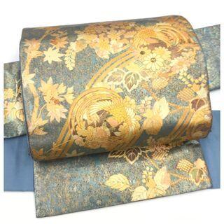 袋帯 正絹 漆箔 華喰い鳥 華模様 二重太鼓 作り帯 二部式 ...