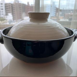 【中古】3-4人前 噴きこぼれにくい 土鍋(ガス火専用)