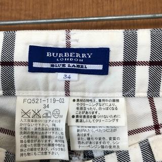 値下げ交渉可 バーバリー ブルーレーベル チェックパンツ 白 - 服/ファッション
