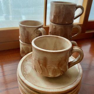 萩焼 6客セット コーヒーカップ&ソーサー
