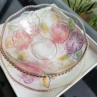 新品未使用 ガラス食器・ガラスボールと大皿ガラス 花柄
