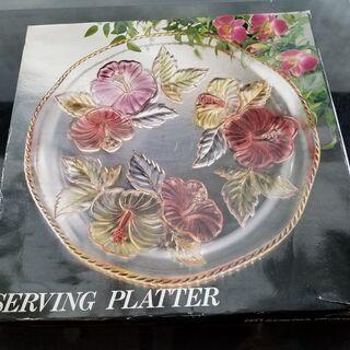 新品未使用 ガラス食器・ガラスボールと大皿ガラス 花柄 − 北海道
