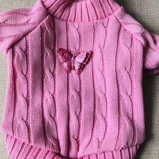 犬☆服S~Mサイズ ケーブルニットセーター 蝶ブローチ ピンク